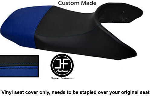 BLACK ROYAL BLUE VINYL CUSTOM FITS HONDA XL 600 V TRANSALP DUAL SEAT COVER ONLY