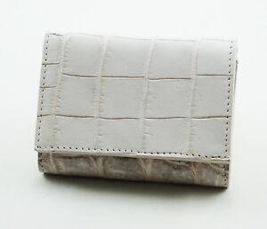 New White Genuine Leather Crocodile Skin Women Tri Fold