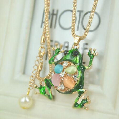 XL Opal Frog Perles Sweater Long Collier Femmes Strass Cristal Pendentif Cadeau