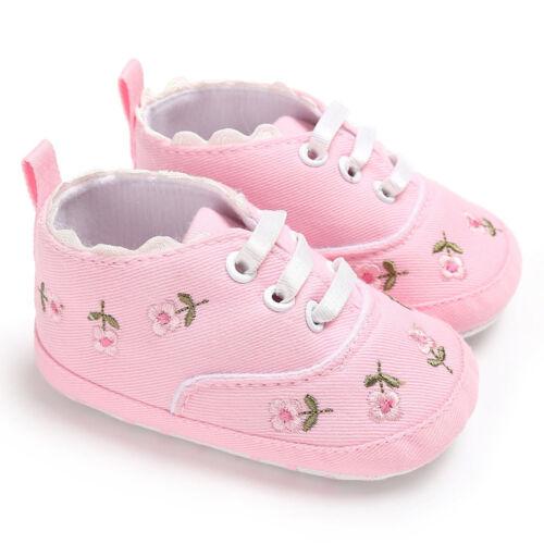 Baby Infant Kids Canvas Crib Shoes Girls Toddler Sneaker Floral Prewalker 0-18M