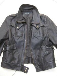 Ladies-NEXT-brown-real-leather-JACKET-COAT-size-UK-16-14-biker-flying-bomber