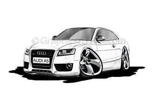 Audi A White Caricature Car Cartoon A Print EBay - Audi a5 white