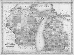 1864 MI MAP ALCONA ALGER ALLEGAN ALPENA ANTRIM ARENAC BARAGA BARRY BAY COUNTY xl