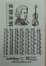 Unmounted Rubber Stamps Music Keyboard Violin by Judikins