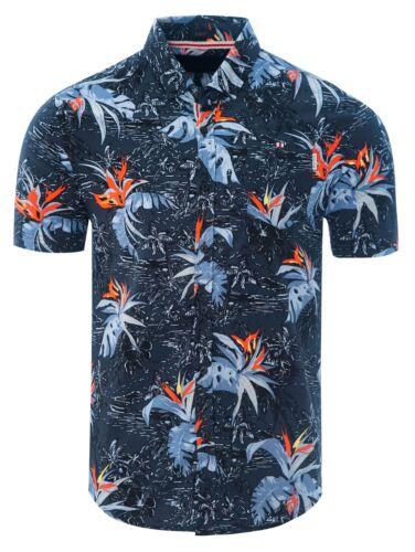 Soulstar Mens Regular Collar Short Sleeve Summer Palm Trees Hawaiian Shirt Black