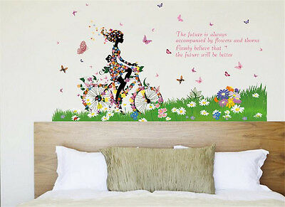 Bike Girl Flowers Home Room Decor Removable Wall Sticker Decal Decoration