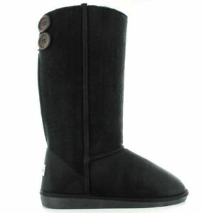 Ella Ladies Boot Dora Black Vegan Slip On Hard Sole Warm Winter Calf Boots