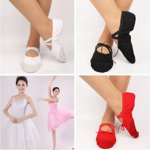 Kids Girls Children Ballet Dance Shoes Canvas Slippers Pointe Gymnastics Shoes