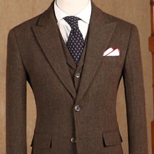 Vintage-Brown-Herringbone-Suits-Peak-Lapel-Tweed-Wool-Formal-Business-Men-039-s-Suit