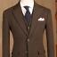 Vintage-Brown-Herringbone-Suits-Peak-Lapel-Tweed-Wool-Formal-Business-Men-039-s-Suit miniature 1