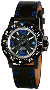 Carucci-Herrenuhr-Schwarz-Blau-Analog-Datum-Echt-Leder-Automatik-XCA2184BL