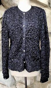 Joseph-Ribkoff-Women-s-Gray-Textured-Rhinestone-Button-Long-Sleeve-Jacket-Sz-12