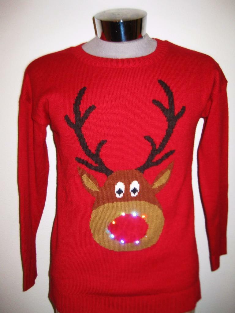 New Women's Reindeer Light Up Ugly Christmas Sweater Size M