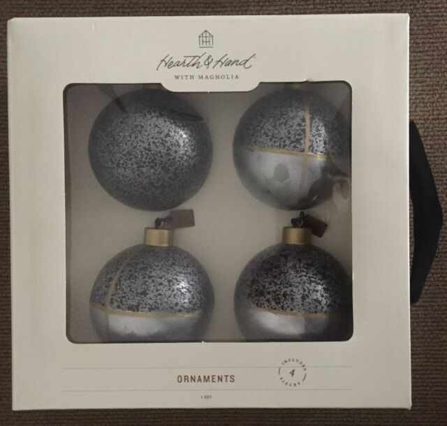 Magnolia 4 Piece Hearth /& Hand Glass Ball Christmas Tree Ornaments Blue 2.5