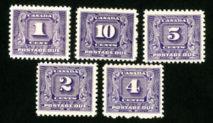 Canada-Stamps-J6-10-VF-OG-NH-Scott-Value-312-50