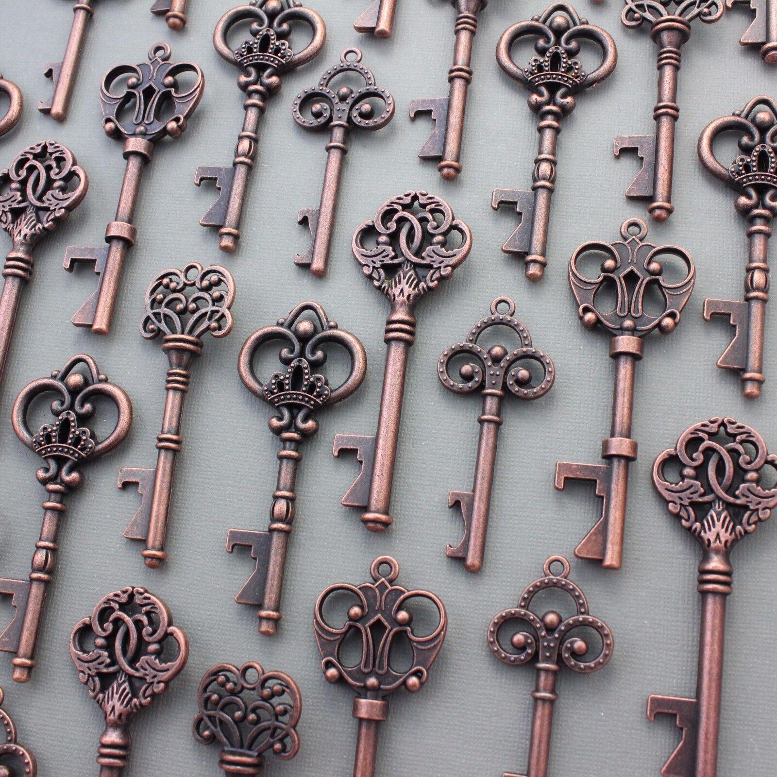 100Pcs Antiqued Copper Skeleton Keys Bottle Openers Mix Wedding Favor Decoration