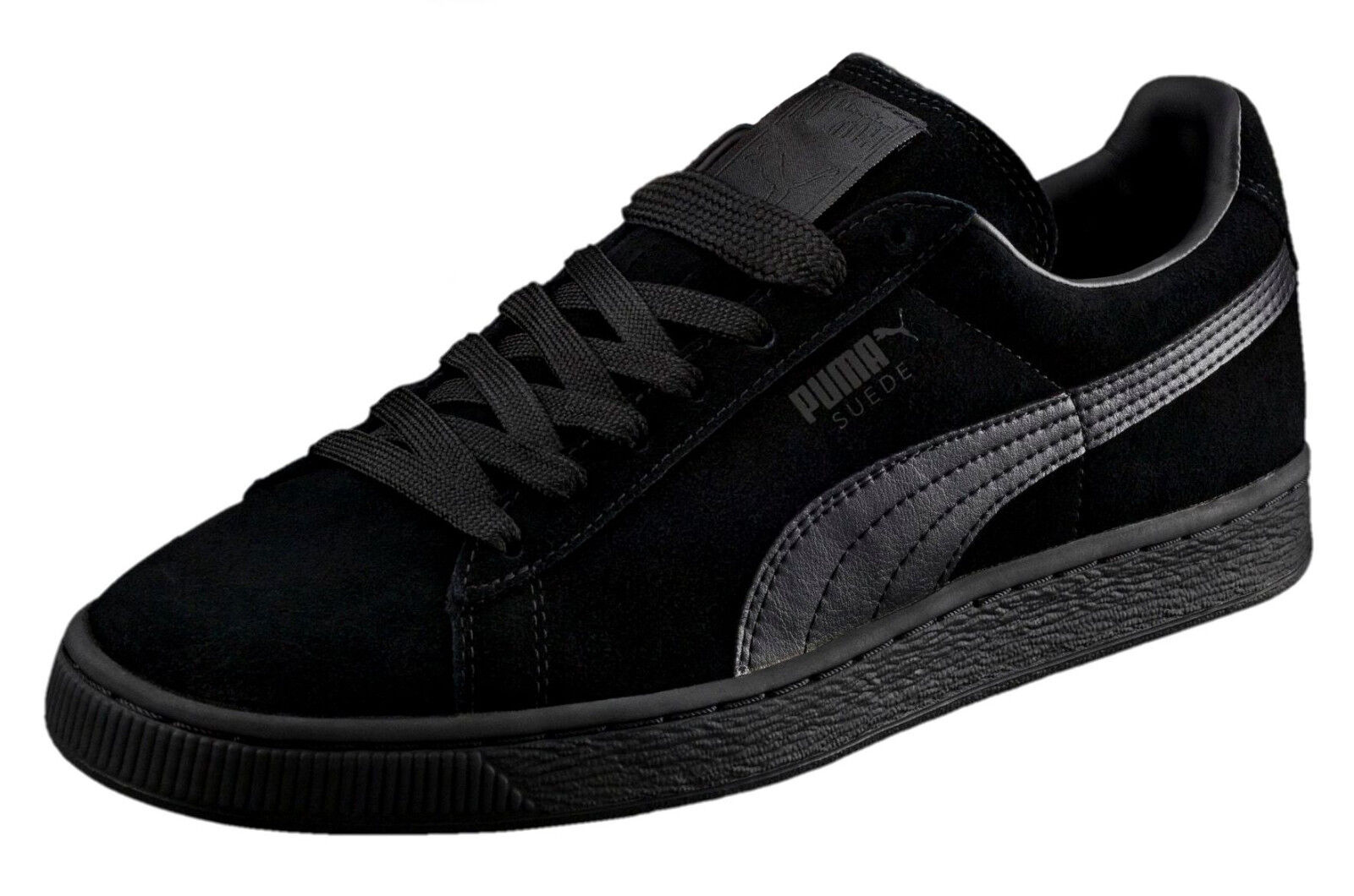 PUMA Suede Classic Leather Black Black Formstrip Mens Sneakers Tennis shoes