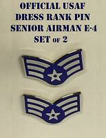 Usaf Senior Airman Sra E-4 Dress Collar Rank Pin Us Air Force 1 Set Of 2