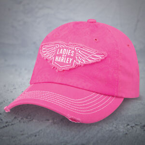 Harley-Davidson-034-Ladies-of-Harley-034-HOG-Ball-cap-NEW-NICE-NWT-Distressed-Pink-Cap