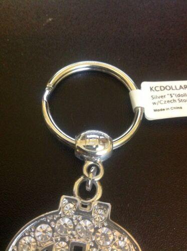 KCDOLLAR KEYCHAIN WITH CZECH STONES DOLLAR SIGN FLASHY DESIGN SOLD IN USA