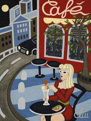 JACQUELINE DITT - Moonshine Café A4 DRUCK n.Gemälde Bild Bilder Giclee