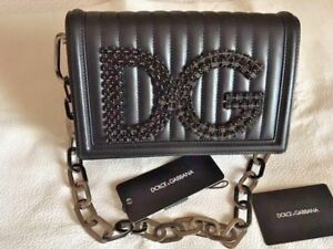 076ba3d2e6 DOLCE & GABBANA DG GIRLS QUILTED BLACK LEATHER BAG SMOKY CRYSTALS ...