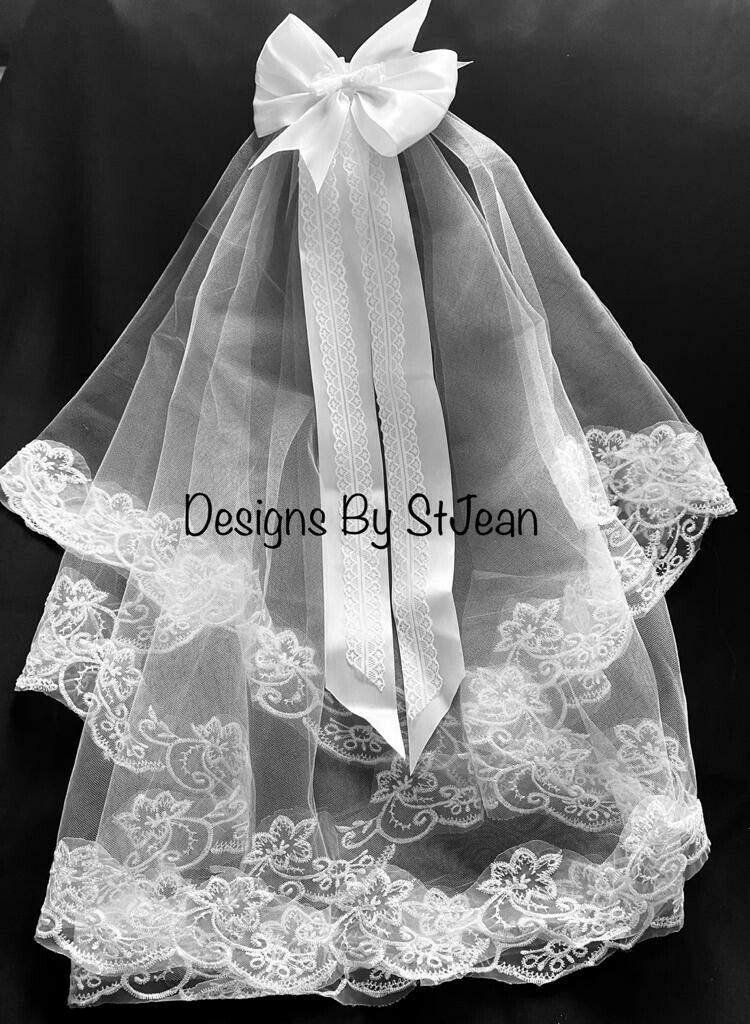 2 Tier white Embroidered lace Holy Communion veil, Lace Veil, Wedding Veil
