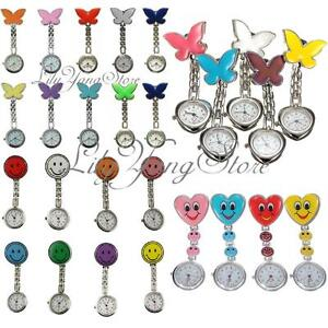 Nurse-Silver-Stainless-Round-Dial-Analog-Fob-Quartz-Tunic-Pocket-Watch-Clip-UK
