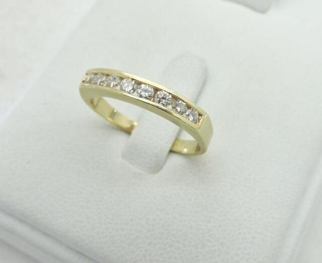 027b9d1182a81 14K Yellow Gold Diamond Anniversary Wedding RING Band 0.40 Ct. Channel Size  7.75
