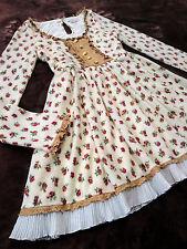 LIZ LISA Floral Knitted dress Rosel Pleated Neck ack ribbon Japan Hime SizeM