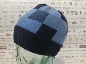 221463655a8 HACKETT Beanie JACQUARD Block Check Turn-up Hat Blue Wool Ribbed ...