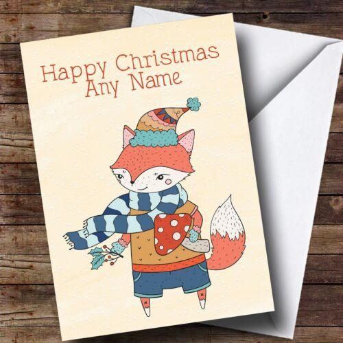 Automne fox personnalisé Carte de Noël
