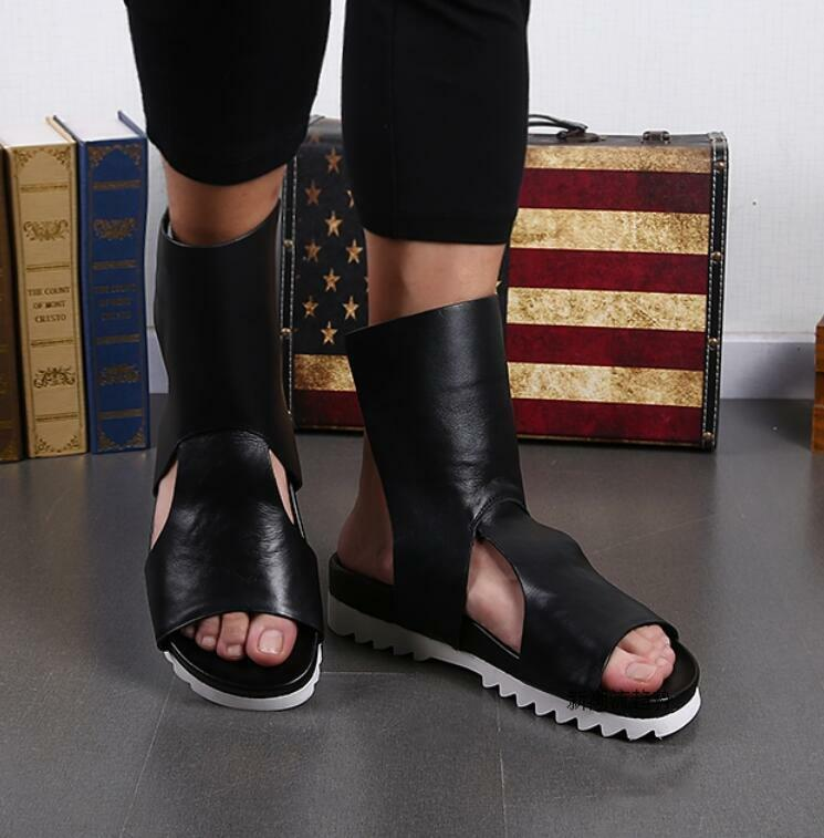 Gothic Mens Leather Hollow Roman Sandals Summer Punk Slipper Chic Summer Shoe 18