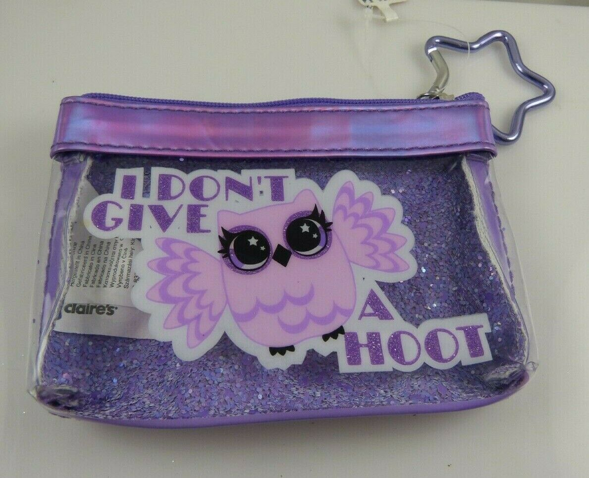 change coin purse cute I don't give a hoot owl purple clip on star