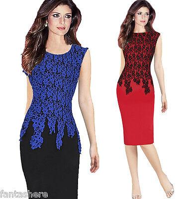 Womens Bodycon Slim Lace Crochet Work Office Party Peplum Pencil Dress PLUS SIZE