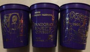 Lot Of 3 Vintage 1988 Purple Mardi-Gras Pandora Majestic Odyssey Theme Drink Cup