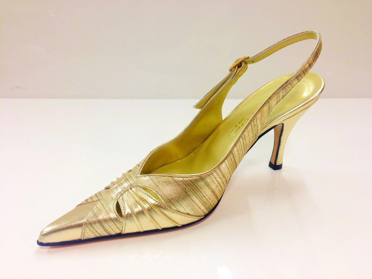 Sabrina Chic Womens Metallic Gold Slingback Heel Shoes - (2794 P-L)