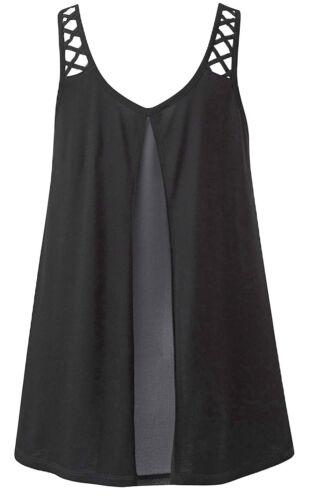 Capsule J D Williams Jersey Swing Vest Top Tunic Rear Chiffon Panel Dipped Hem