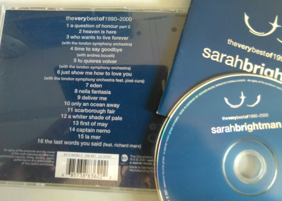 Sarah Brightman: 2 CD'er stk. 20 kr. - begge 35 kr, pop