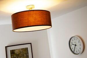Plafoniera Tessuto Design : Plafoniera metallo nichel paralume tessuto marron design lampada
