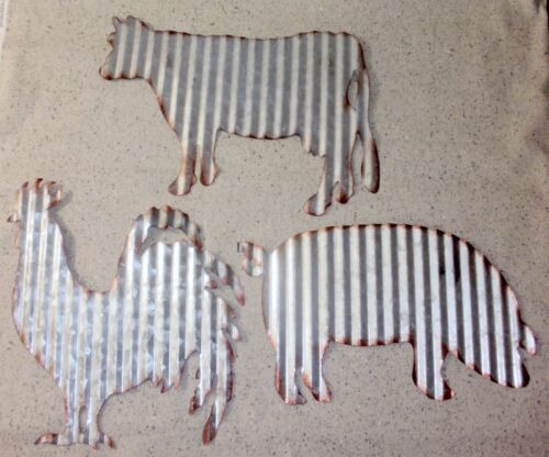 NEW~Set of 3 Corrugated Tin Wall Hanging Farmhouse Decor~Rooster Pig. Cow