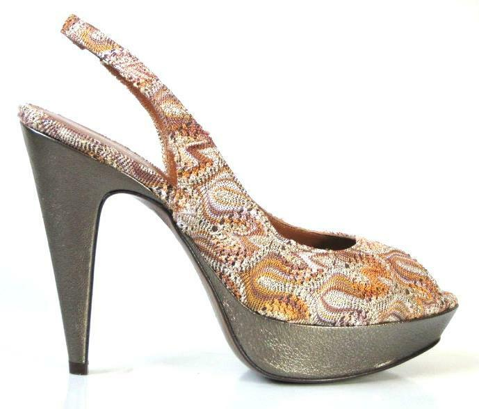 NEW zag hot MISSONI bronze zig zag NEW PLATFORMS heels schuhe 38.5 US 8.5 6f4adf
