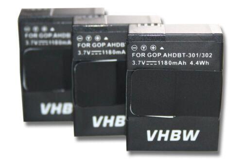 plus White Edition 3x cámara acu batería 1180mah para GoPro Hero 3