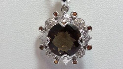 "Yellow Sapphire /& White Topaz  Silver Pendant 18/"" Genuine Smoky Quartz"