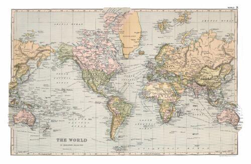 Vintage Old decorative World Map Appleton 1892 paper or canvas