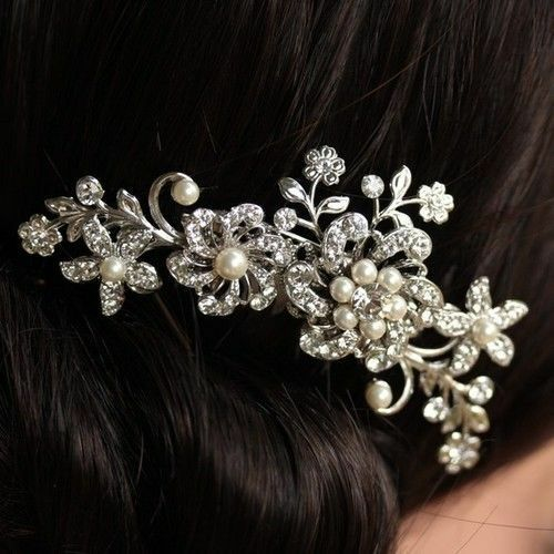UK Silver Bridal Wedding Flower Pearl Hair Comb Clip Diamante Crystal Rhinestone