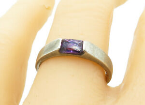 925-Sterling-Silver-Vintage-Amethyst-Smooth-Band-Solitaire-Ring-Sz-8-R11429
