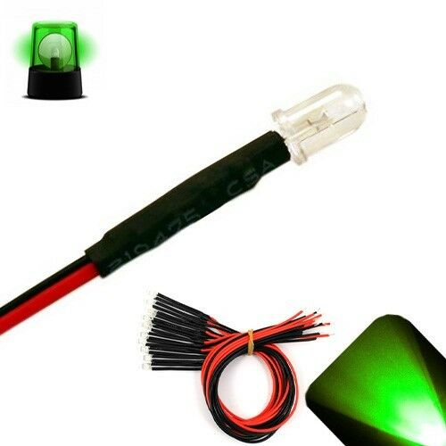 100 x LED Pre wired 12v 5mm Pure Green Flashing Blinking Strobe LEDs 12 volt 6v