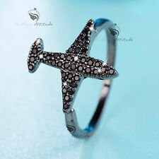 BLACK RHODIUM PLATED MADE WITH SWAROVSKI CRYSTAL AEROPLANE PLANE FLIGHT RING