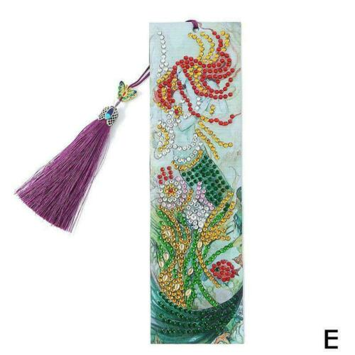 DIY Shaped Drill Diamond Painting Bookmarks Tassel Notebook Gift Marks O4Z7